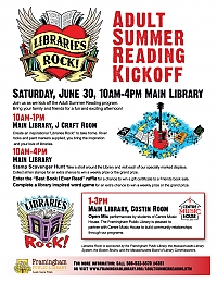 poster of Adult Summer Reading kickoff events