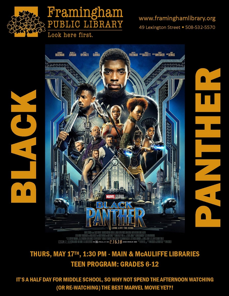 Half Day Movie: Black Panther @ McAuliffe Branch thumbnail Photo