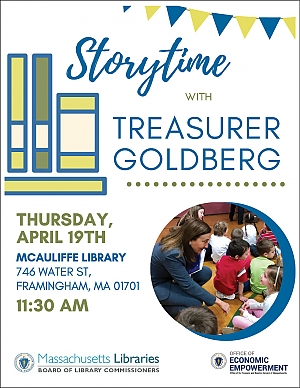 poster advertising Storytime with Treasurer Goldberg