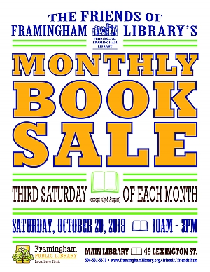 poster of Friends of Framingham Library book sale October 2018