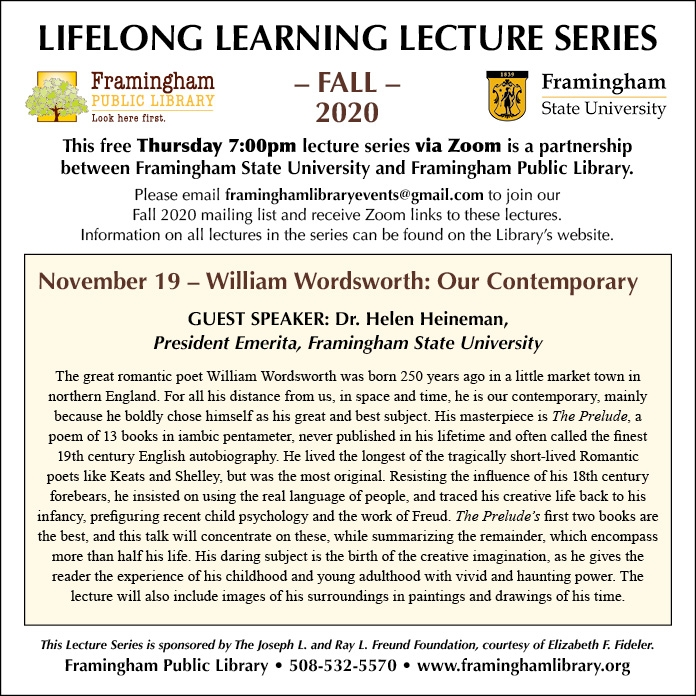 Lifelong Learning Lecture Series: William Wordsworth: Our Contemporary thumbnail Photo
