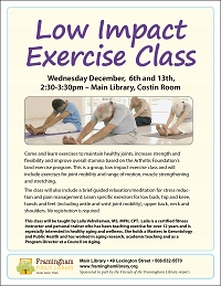 Low Impact Exercise Class: Keeping Fit Through the Holidays thumbnail Photo