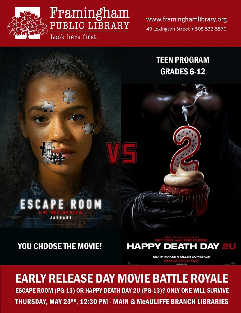 Early Release Teen Movie Face Off: Escape Room vs. Happy Death Day 2U (McAuliffe) thumbnail Photo