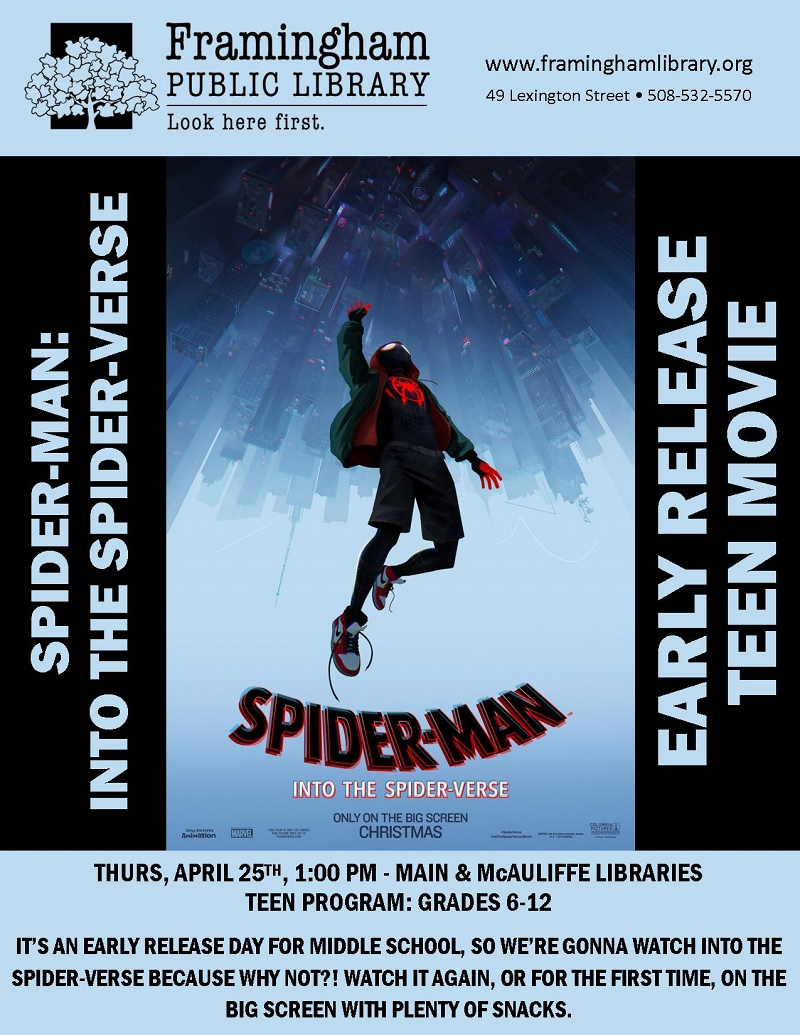 Early Release Teen Movie: Into the Spider-Verse (Main Library) thumbnail Photo