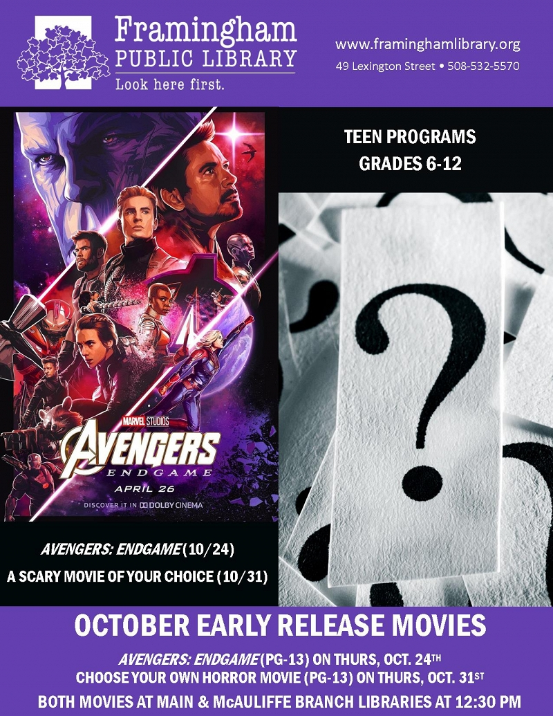Early Release Movie: Avengers Endgame (McAuliffe Library) thumbnail Photo