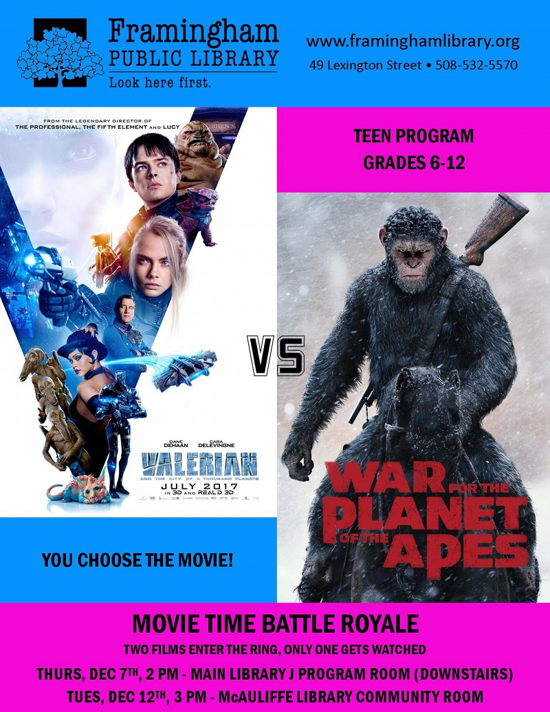 McAuliffe Library Movie Battle Royale: Valerian vs. War for the Planet of the Apes thumbnail Photo