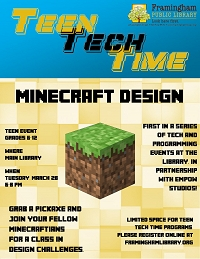 Teen Tech Time: Minecraft Design (ALL SPOTS FILLED) thumbnail Photo