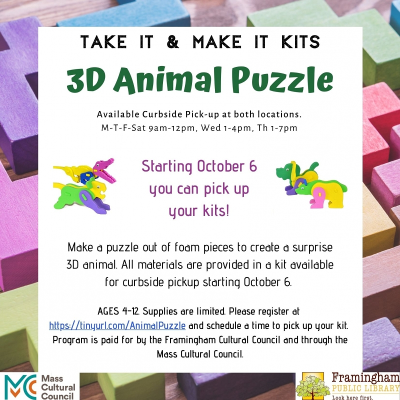 ALL KITS RESERVED: Take and Make Kit: 3D Puzzle Foam Animals thumbnail Photo