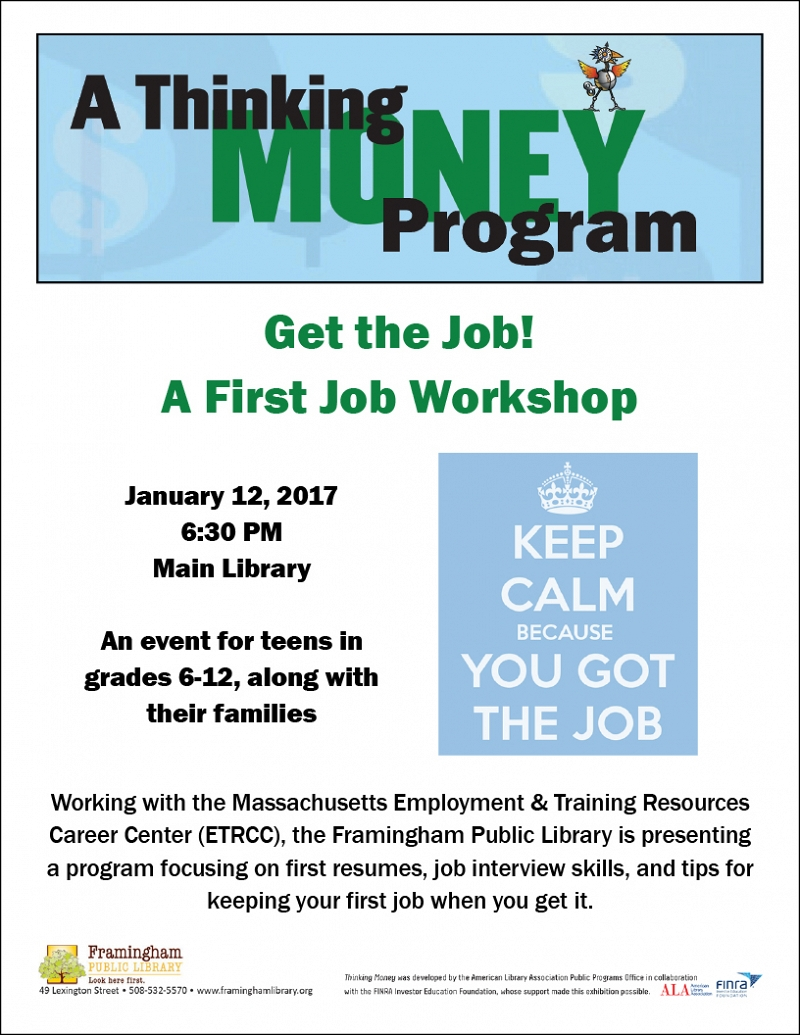 Thinking Money - Get the Job! A First Job Workshop thumbnail Photo