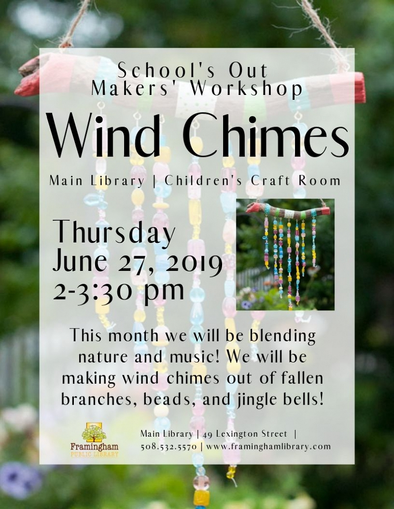 School's Out Makers' Workshop: Wind Chimes thumbnail Photo