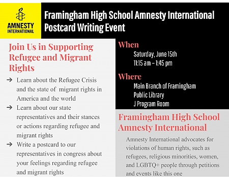 Framingham High School Amnesty International Postcard Writing Event