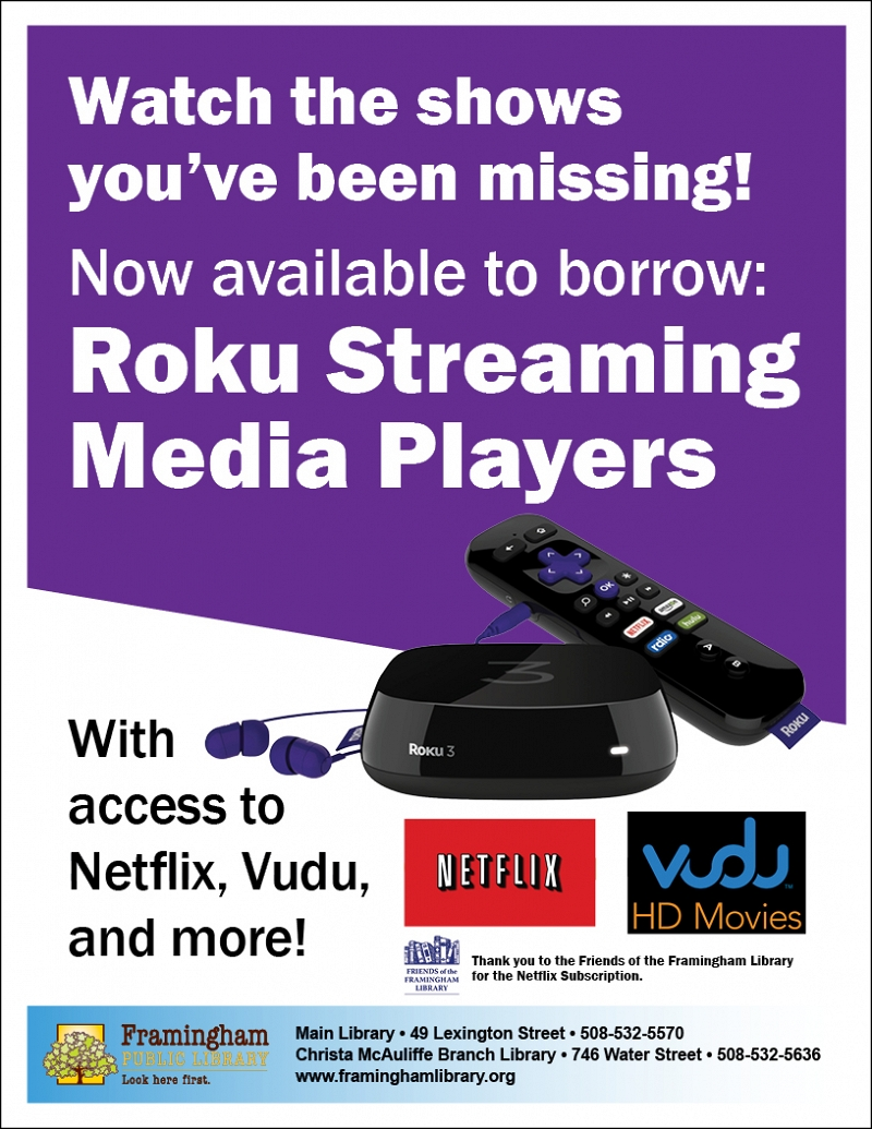 Home Page | Now available to borrow: Roku Streaming Media