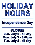 July 4 Holiday Hours graphic