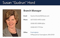 image of Susan Gudrun Hord business card