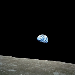 photo of earthrise from the Moon landing, 1969