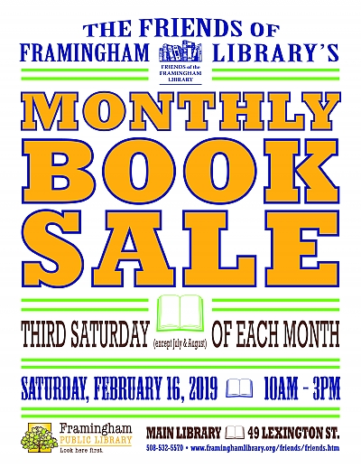 poster of Friends of Framingham Library book sale February 2019