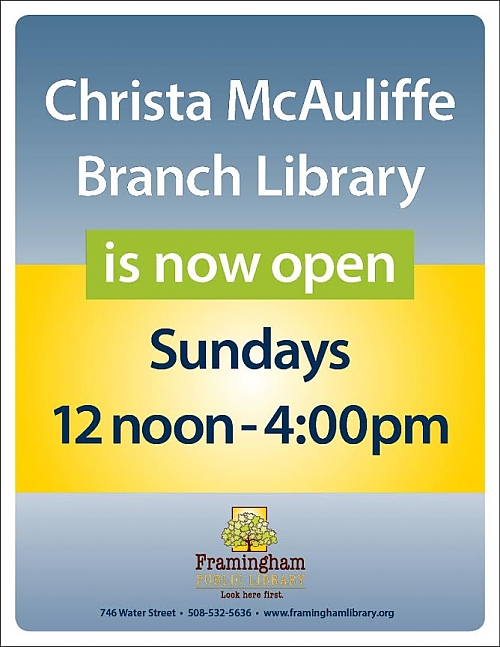 McAuliffe Branch Library Now Open Sundays!