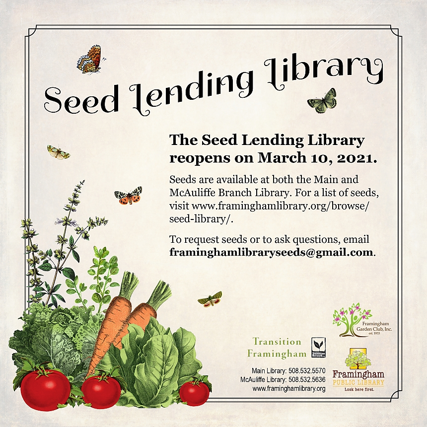 Seed Lending Library Reopens on March 21, 2021