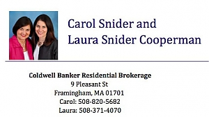 business card for Carol and Laura Snider with Coldwell Banker