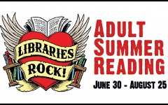 Exciting news about Adult Summer Reading programs, prizes, and more... graphic