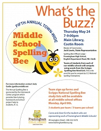 What's the Buzz? The Fifth Annual Town-Wide Middle School Spelling Bee thumbnail Photo