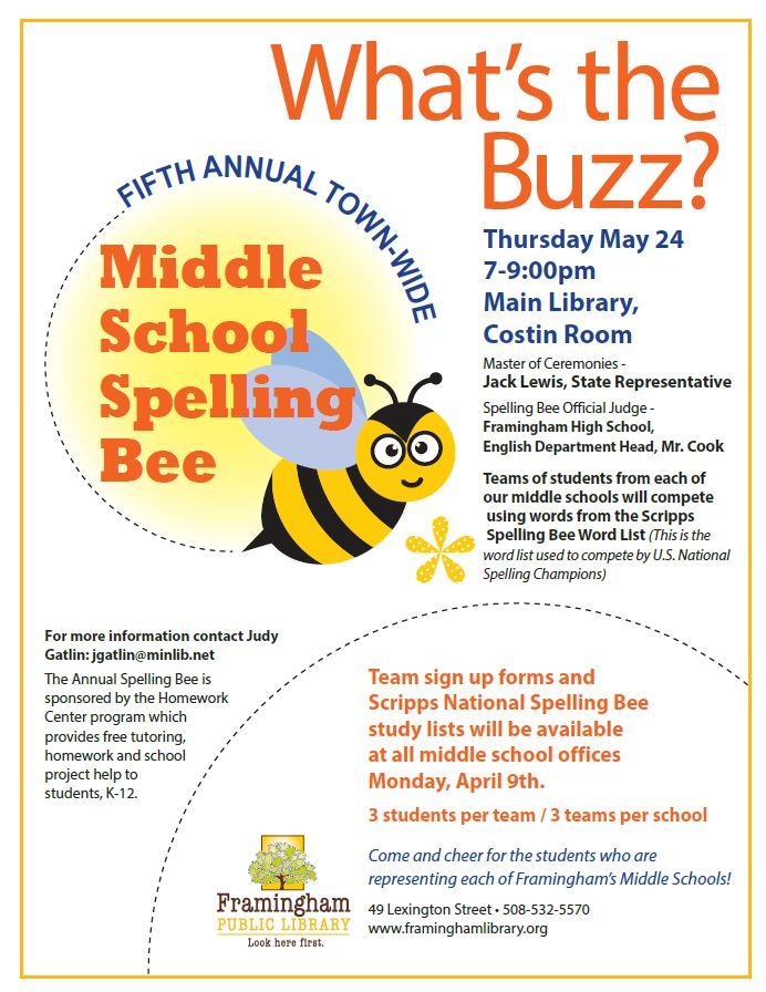 Scripps Spelling Bee Word List 2020.Events Calendar Framingham Public Library