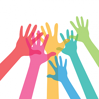 graphic of several multicolored hands reaching together