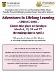 Adventures in Lifelong Learning: Spring 2018 graphic