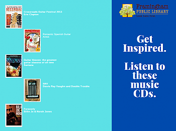 Poster reads Get Inspired. Listen to these music CDs.