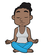 Cartoon of woman in yoga lotus position