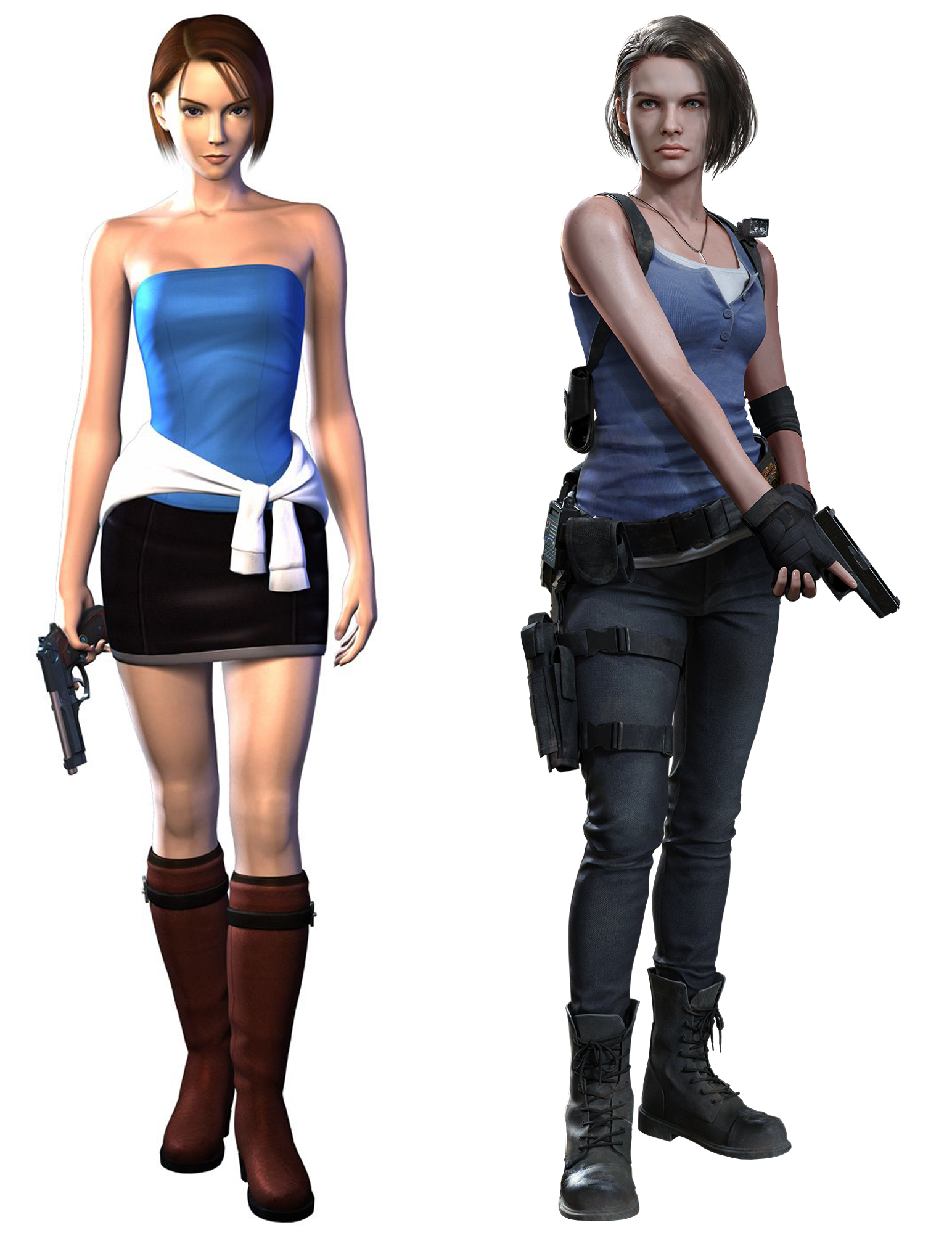 Character models of Jill Valentine in Resident Evil 3 and the RE3 Remake