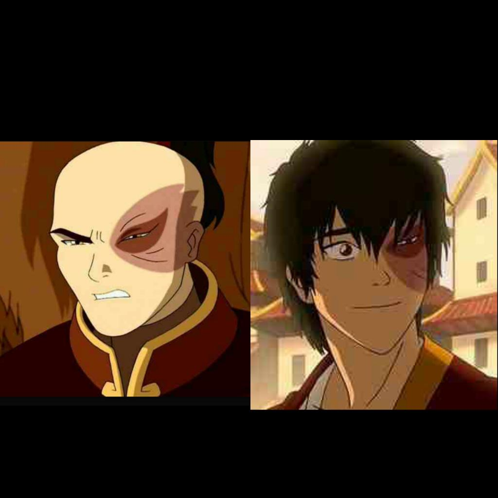 Two photos of Zuko side by side, showing Zuko angry at first and happy in the second.