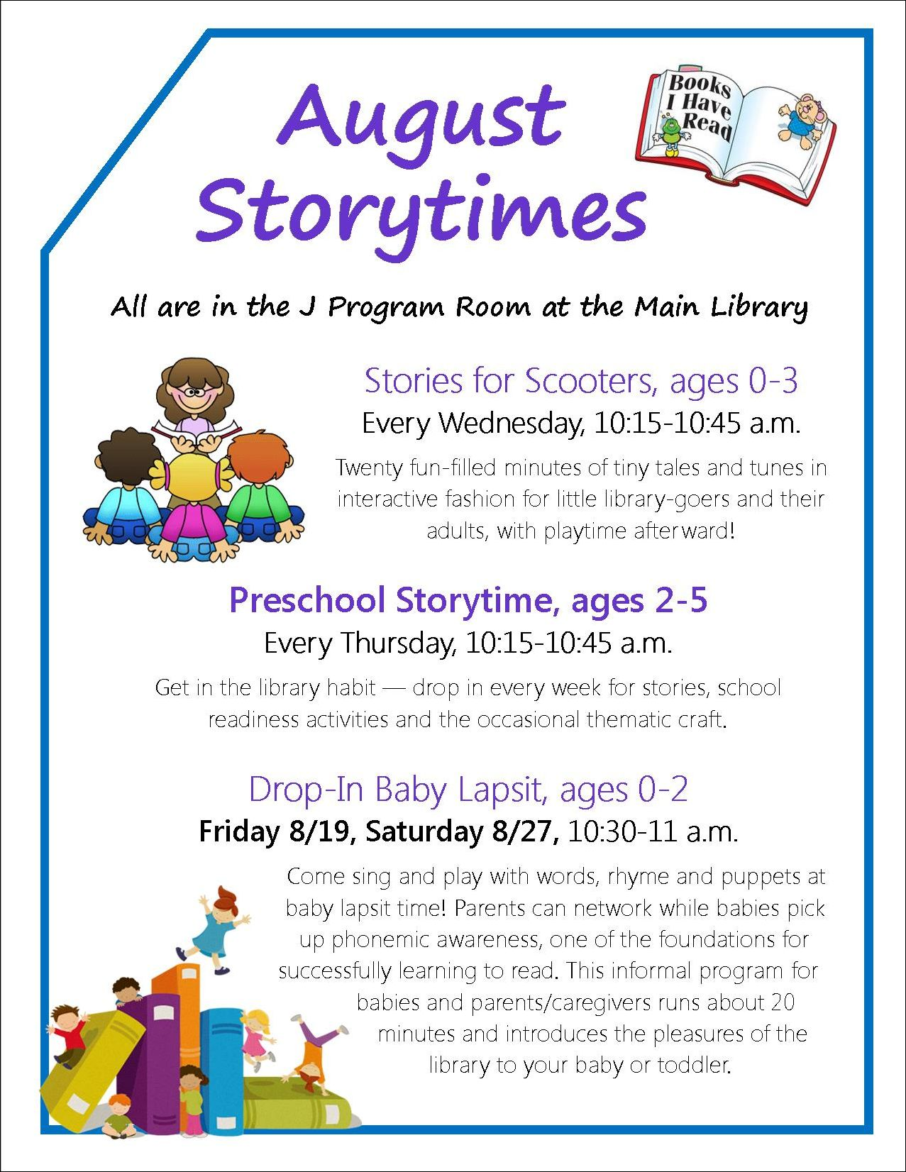 Weekly Story Times graphic