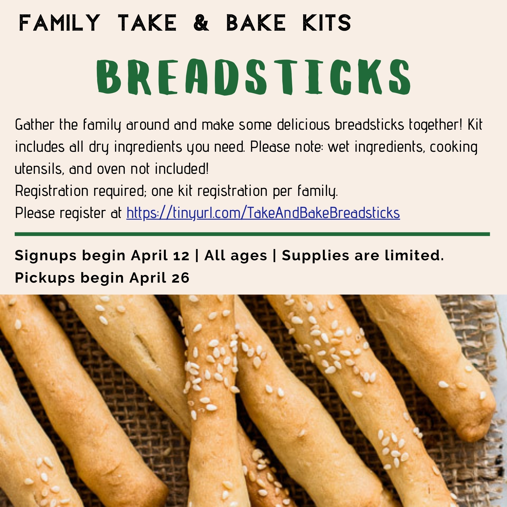 Family Take & Bake Kit: Breadsticks thumbnail Photo