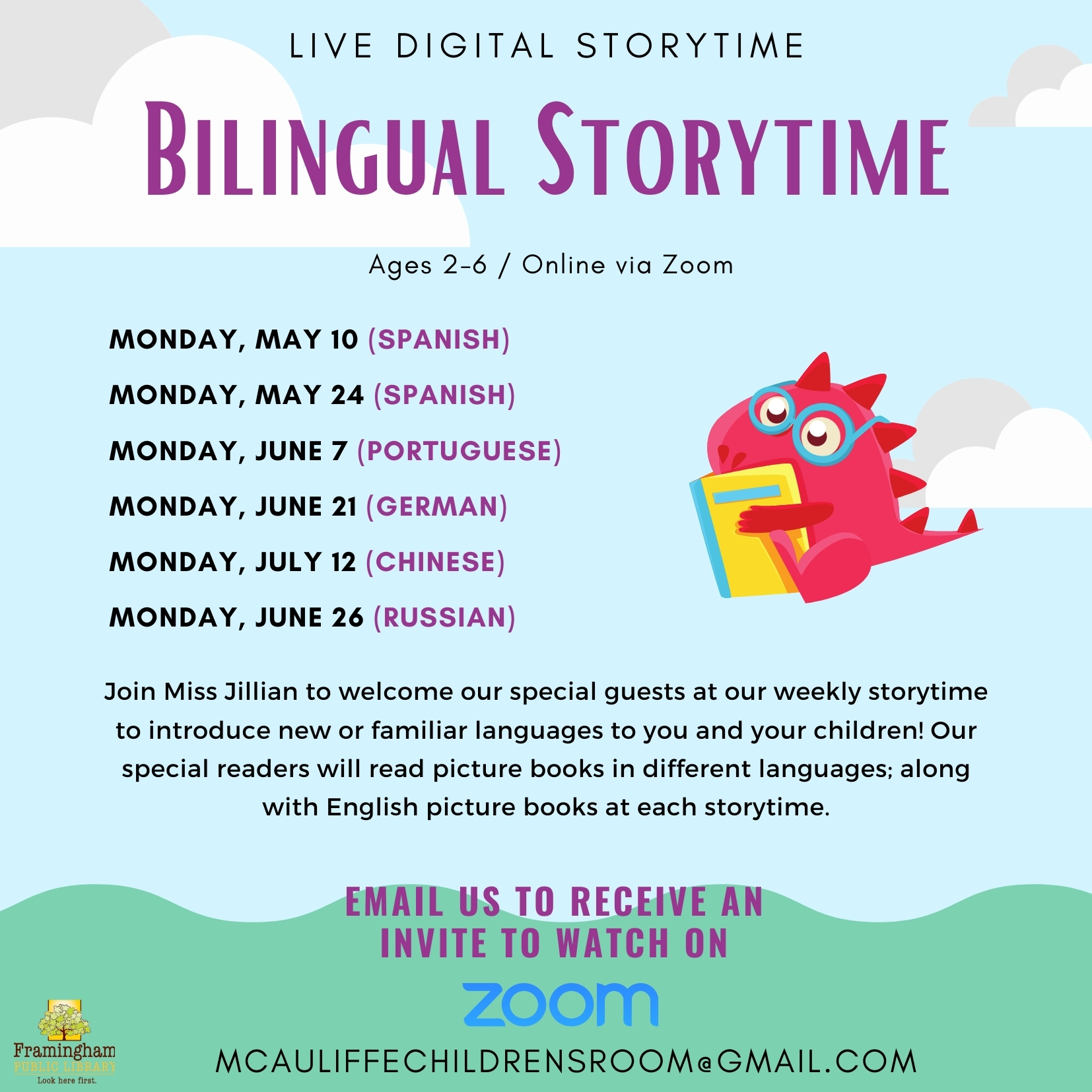 Monday Storytime with Miss Jillian (Bilingual Storytime) thumbnail Photo