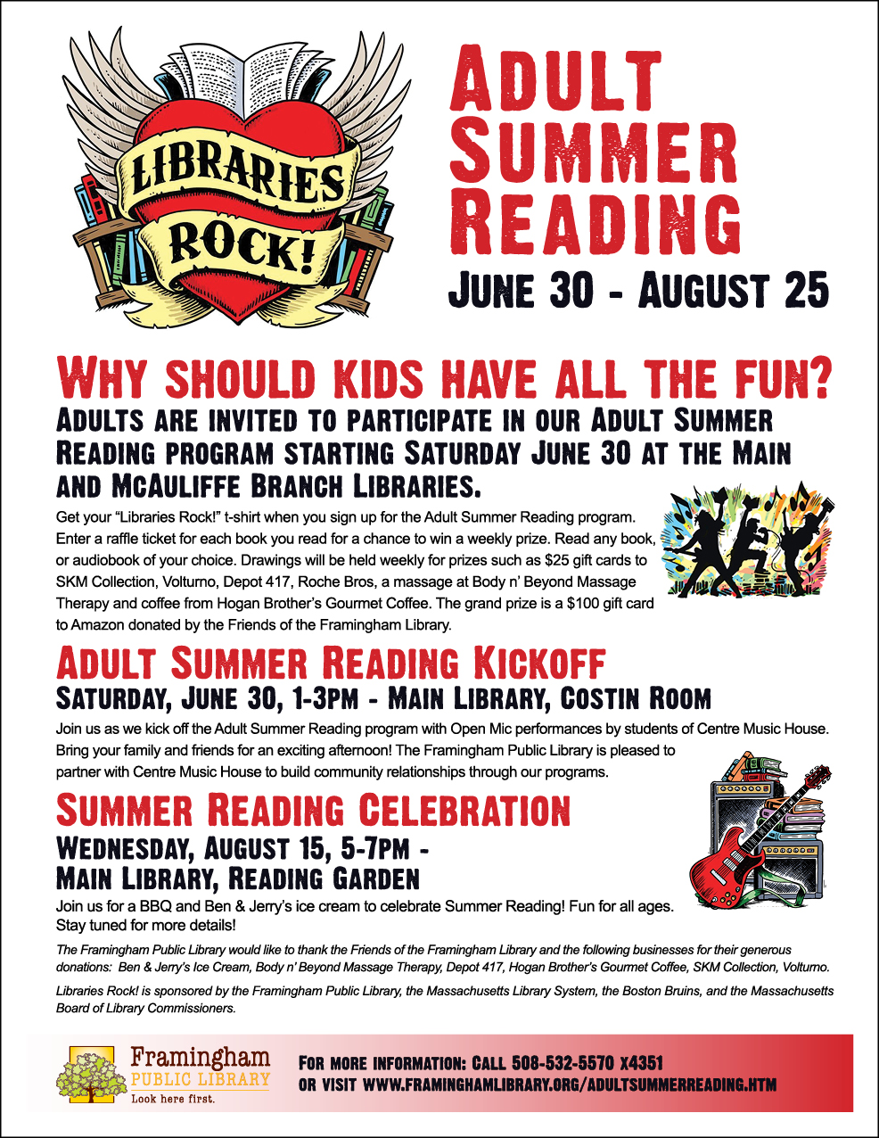 poster of Adult Summer Reading program activities