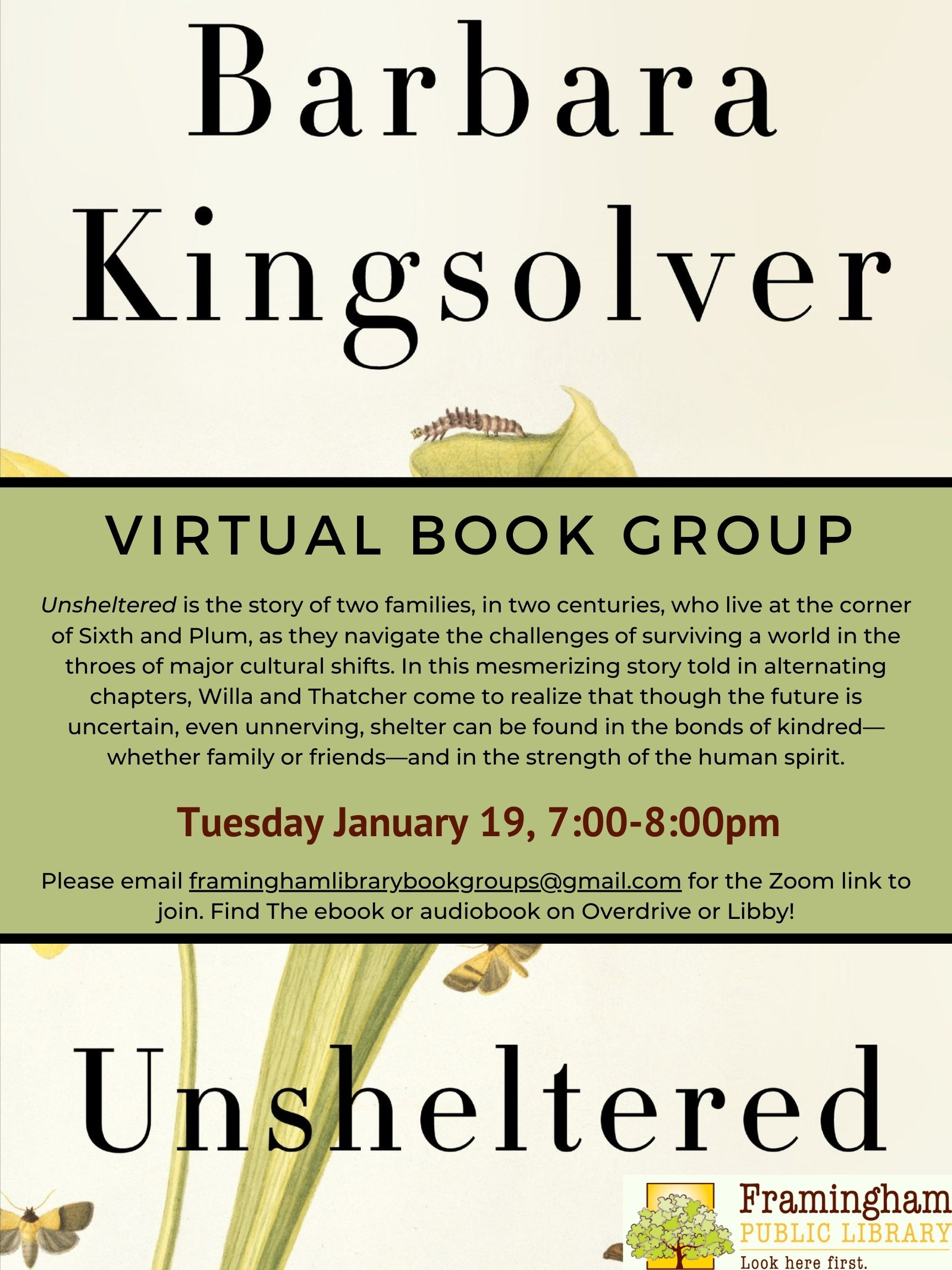 Virtual Book Discussion: Unsheltered by Barbara Kingsolver thumbnail Photo
