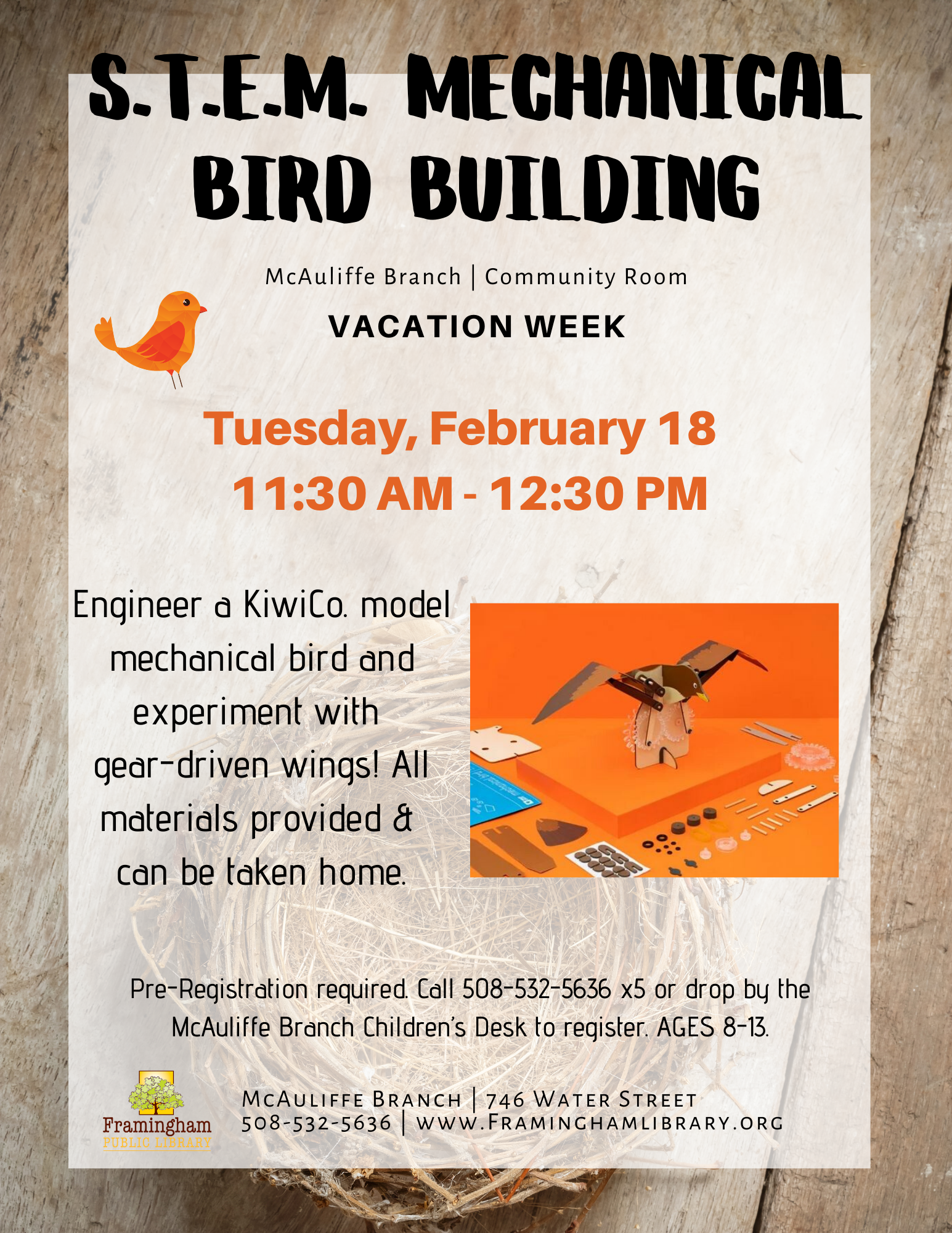 Spark Lab Pop-Up at McAuliffe: S.T.E.M. KiwiCo Mechanical Bird Building thumbnail Photo