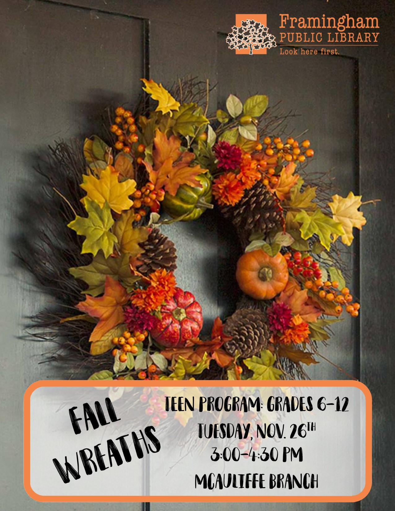 McAuliffe Teen Craft: Fall Wreaths thumbnail Photo