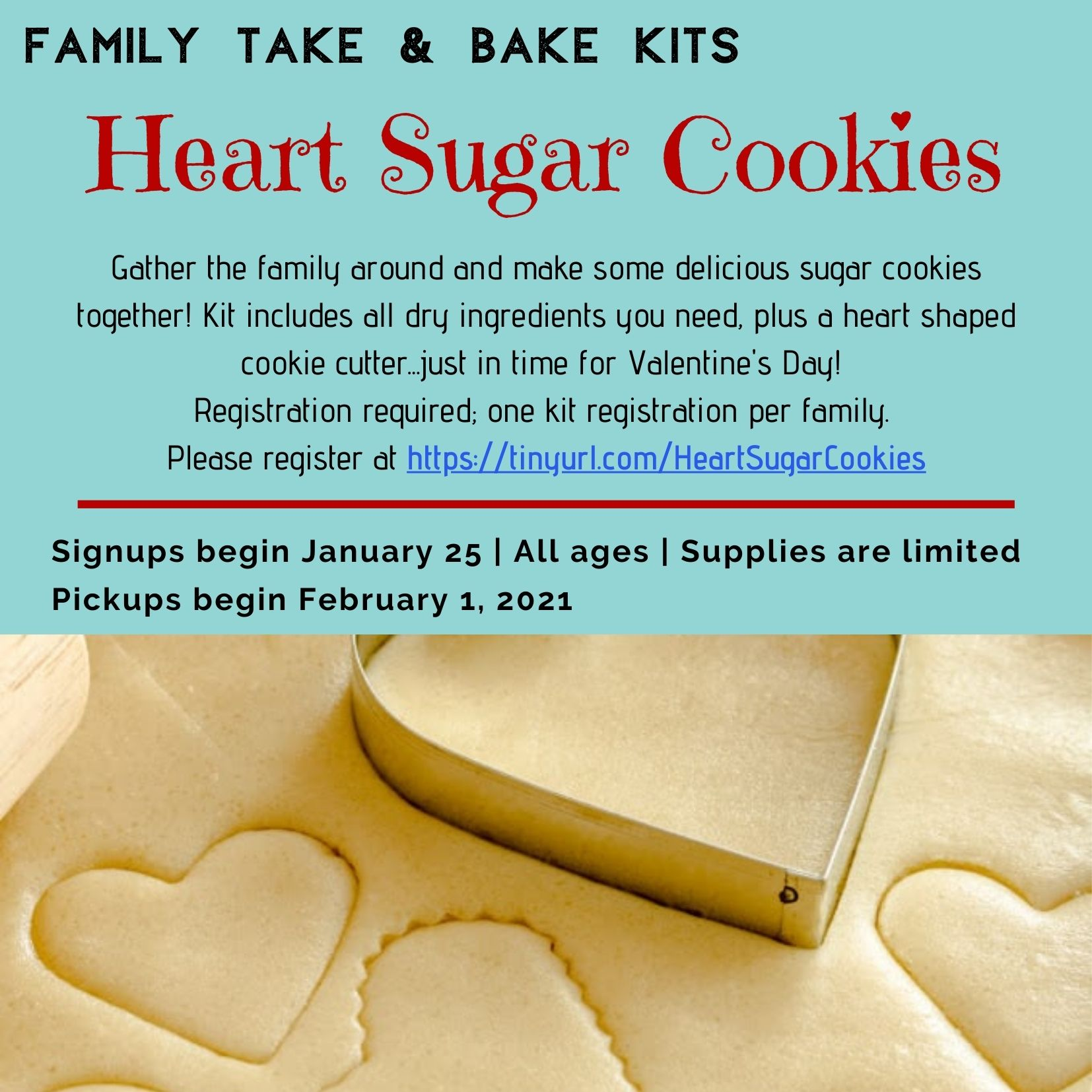 Family Take & Bake Kit: Heart Sugar Cookies thumbnail Photo