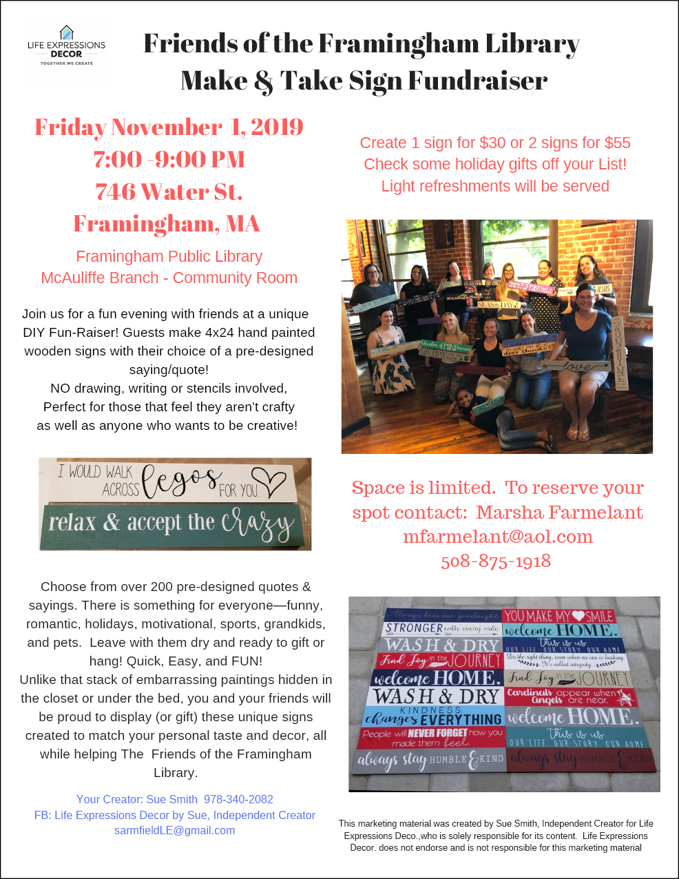 Friends of the Framingham Library Make & Take Sign Fundraiser thumbnail Photo