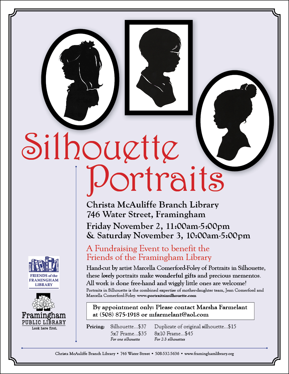 Silhouette Portraits: A Fundraising Event to Benefit the Friends of the Framingham Library thumbnail Photo