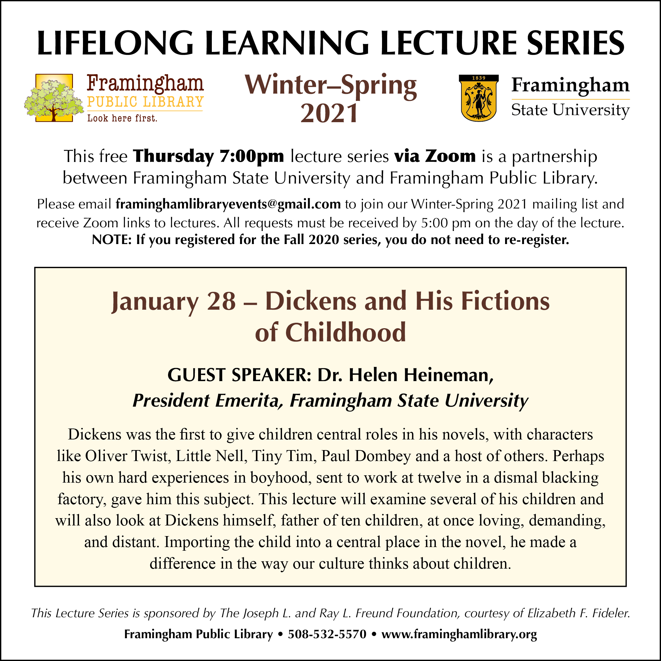 Lifelong Learning Lecture Series: Dickens and His Fictions of Childhood thumbnail Photo