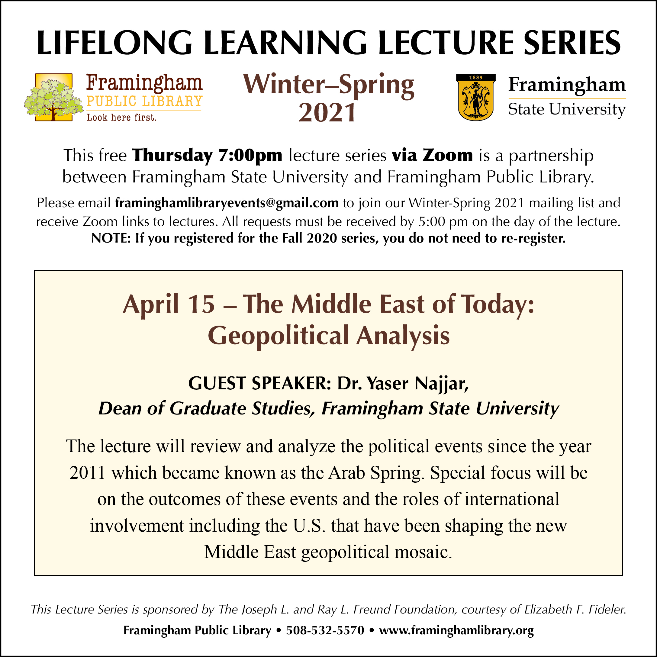 Lifelong Learning Lecture Series: The Middle East of Today: Geopolitical Analysis thumbnail Photo