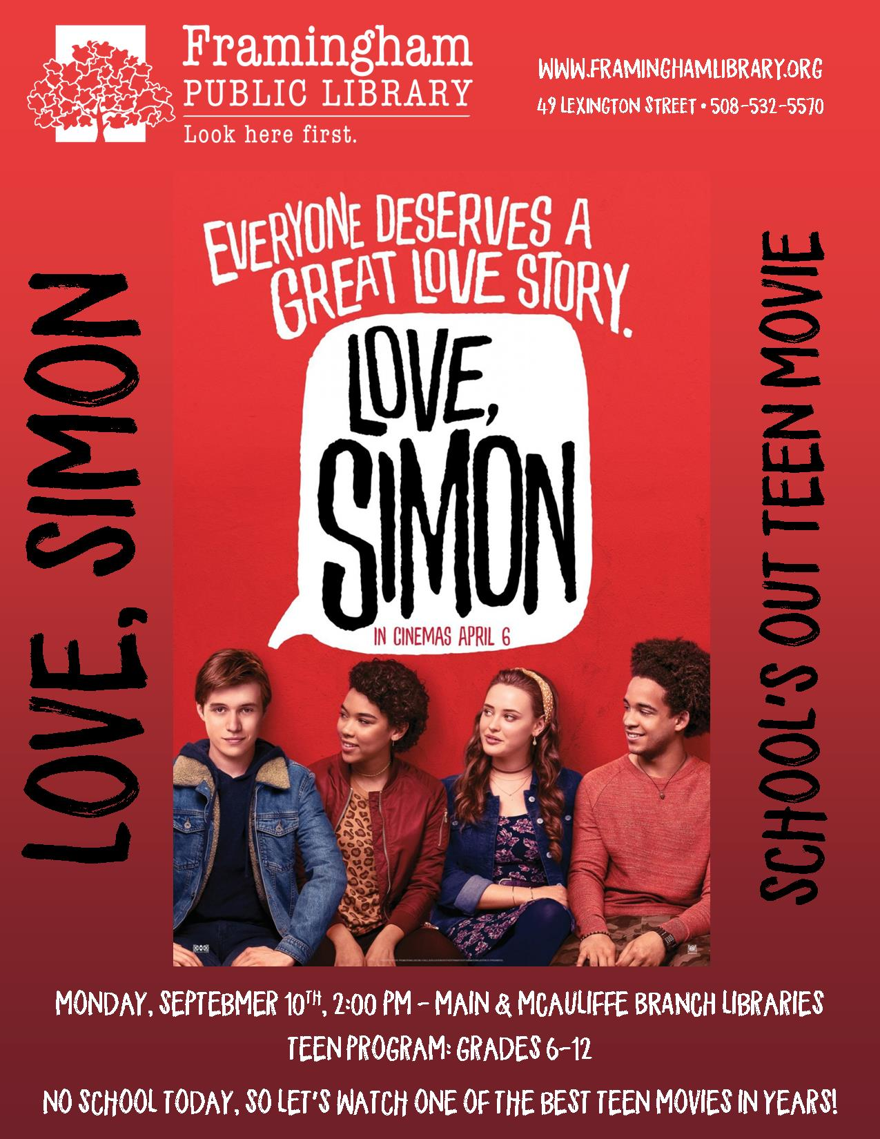 School's Out Movie: Love Simon @ McAuliffe Branch Library thumbnail Photo