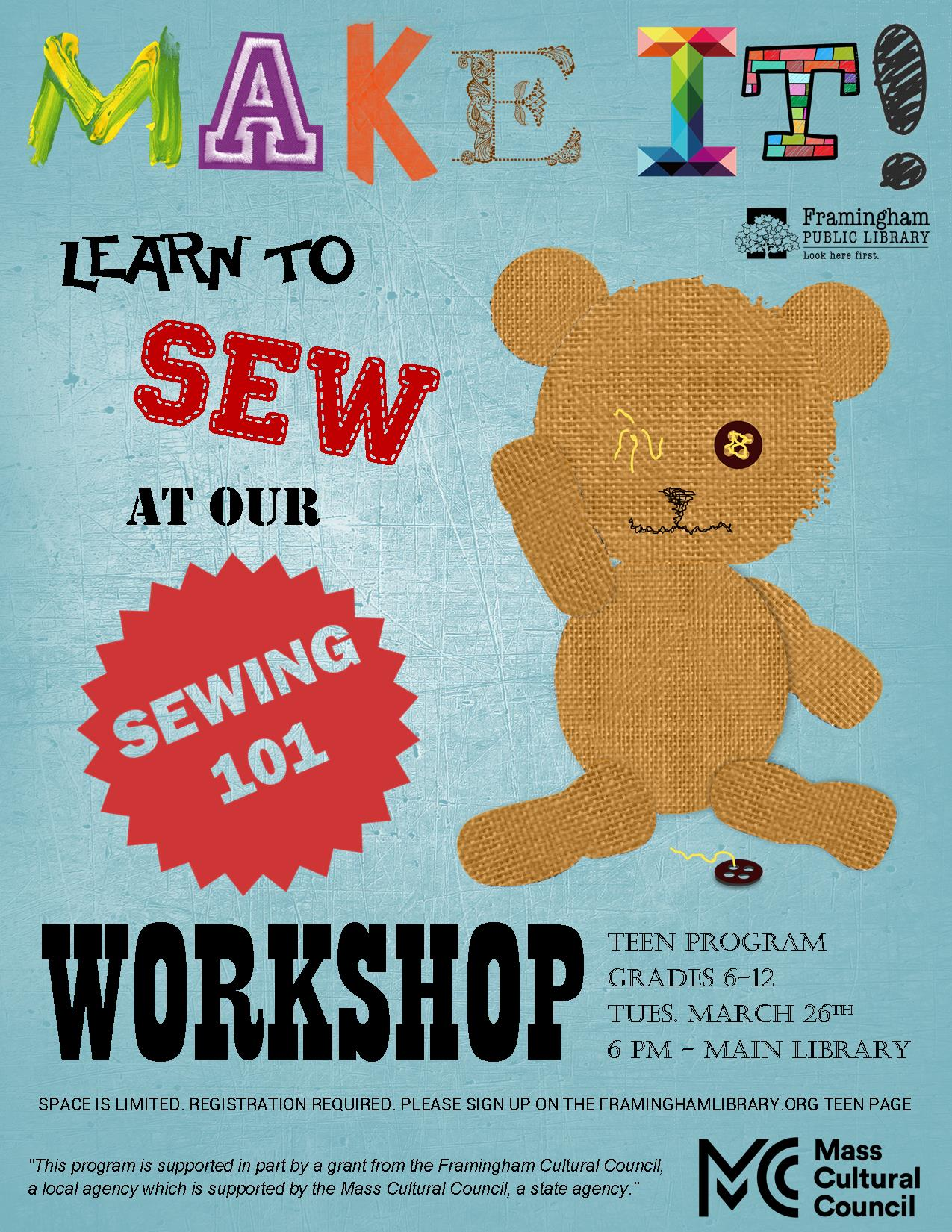 Make It! - Sewing 101 EVENT FULL, WAITLIST OPEN thumbnail Photo