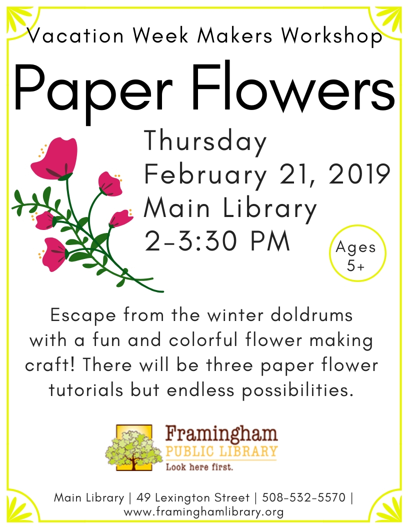 Vacation Week Makers Workshop: Paper Flowers thumbnail Photo