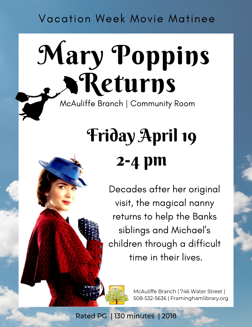 Vacation Week Movie Matinee: Mary Poppins Returns thumbnail Photo