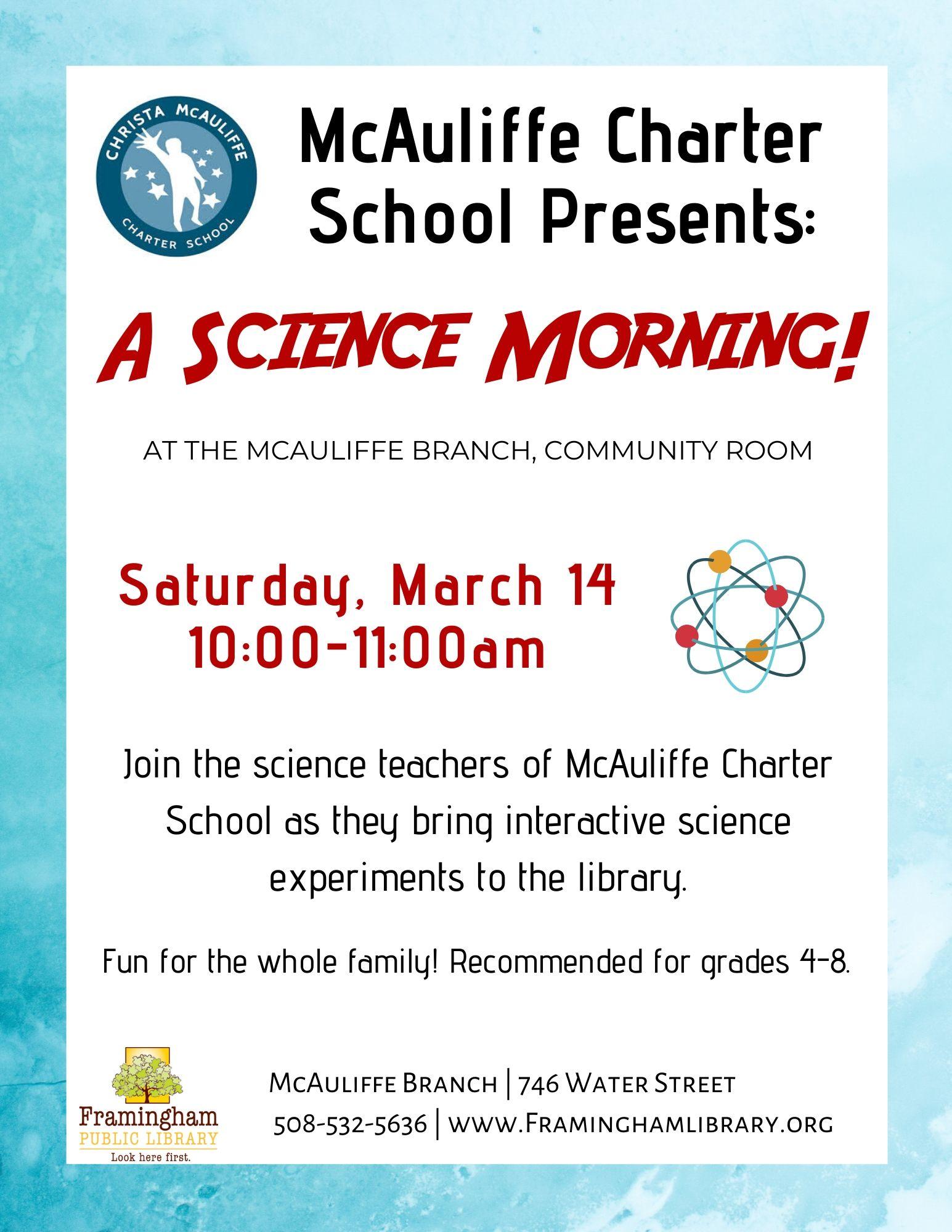 McAuliffe Charter School Presents: A Science Morning! (POSTPONED: STAY TUNED FOR FUTURE DATE) thumbnail Photo