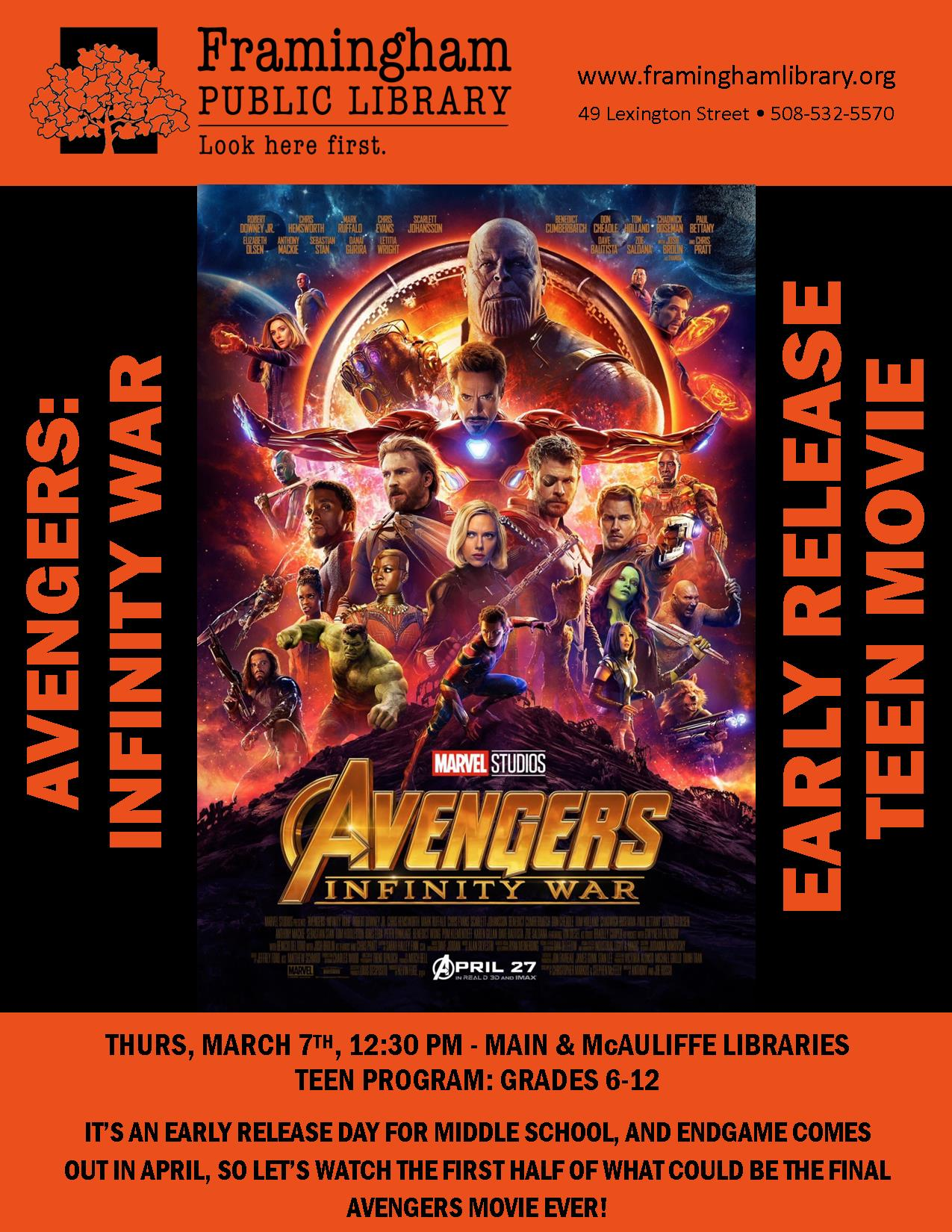 Half Day Teen Movie at McAuliffe Branch - Avengers: Infinity War thumbnail Photo